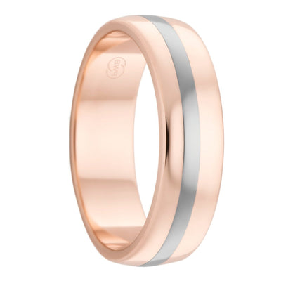Rose Gold and Titanium Inlay Mens Wedding Ring