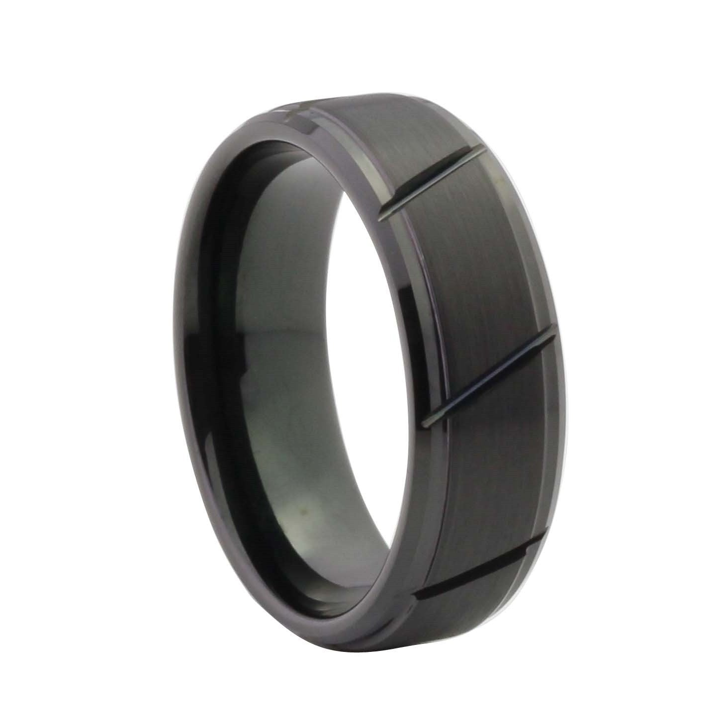 ring band tungsten s wedding bands carbide men black brushed satin rings triton mens