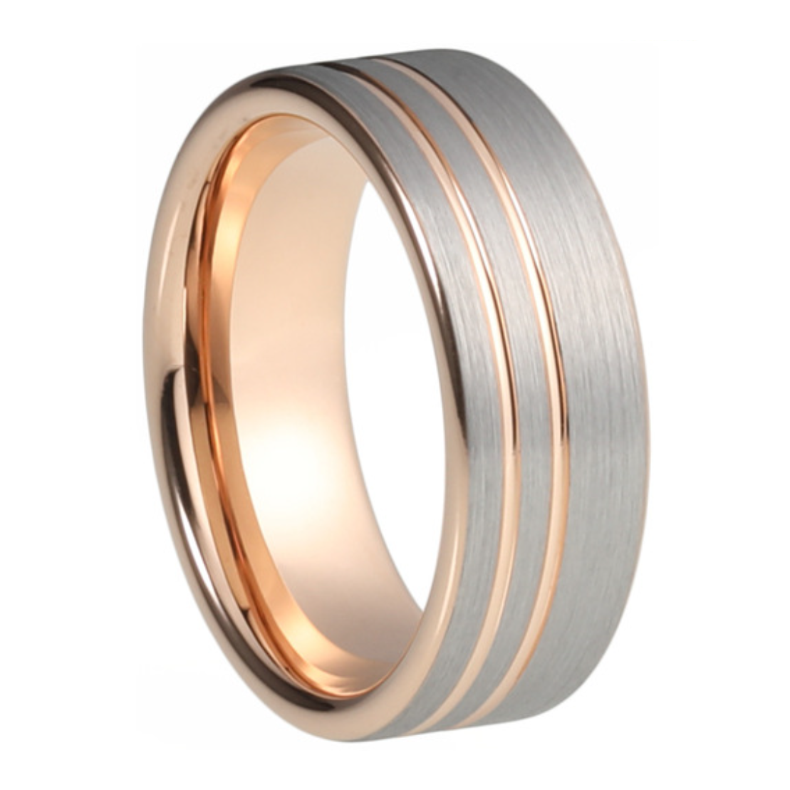 f272d91c62ebb Custom Brushed Tungsten Ring with Plated Rose Gold Double Stripe Pipecut  Ring