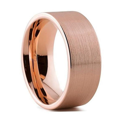 Custom Rose Gold Plated Pipecut Tungsten Ring