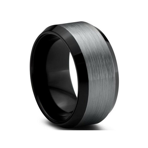 Custom Wide Charcoal Brushed Bevelled Tungsten Ring