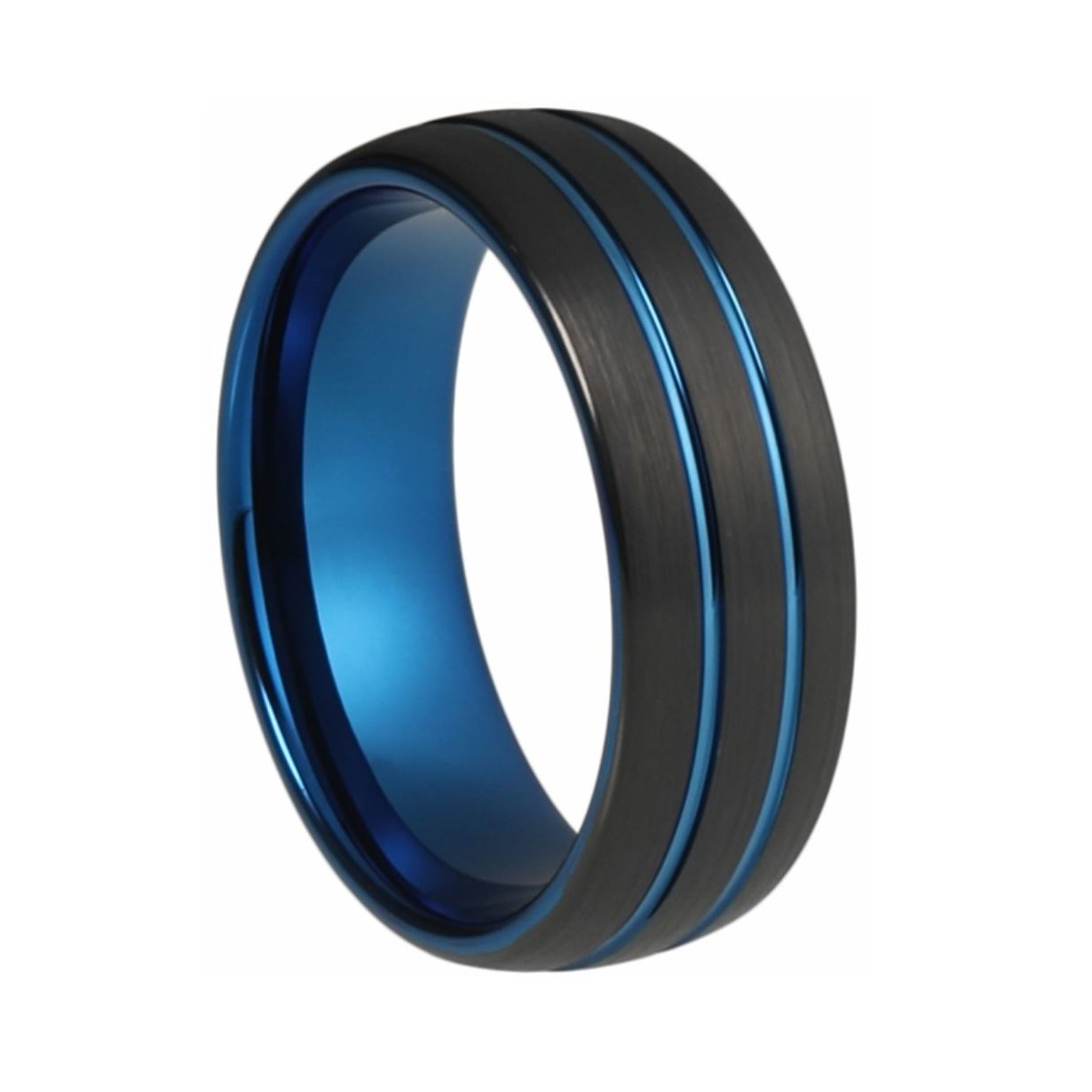 inlay ring black mens band rings jewelry wood fj tungsten wry wedding bling