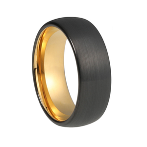 Custom Round Brushed Black and Yellow Gold Plated Tungsten Ring