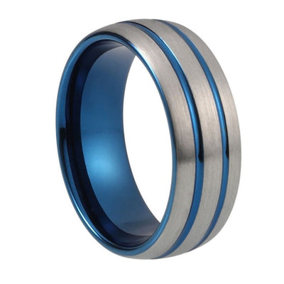 Custom Brushed Tungsten Ring with Blue Double Stripe Metallic Inlay