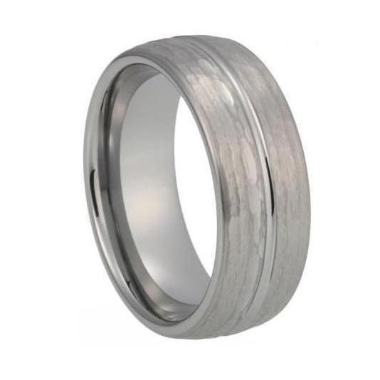 Custom Hammered and Centre Grooved Tungsten Ring