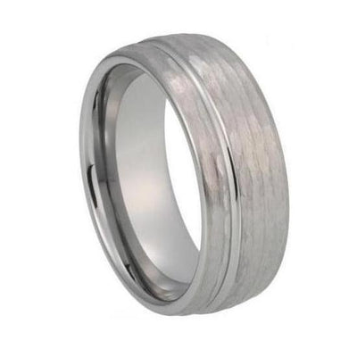 Custom Hammered and Offset Grooved Tungsten Ring