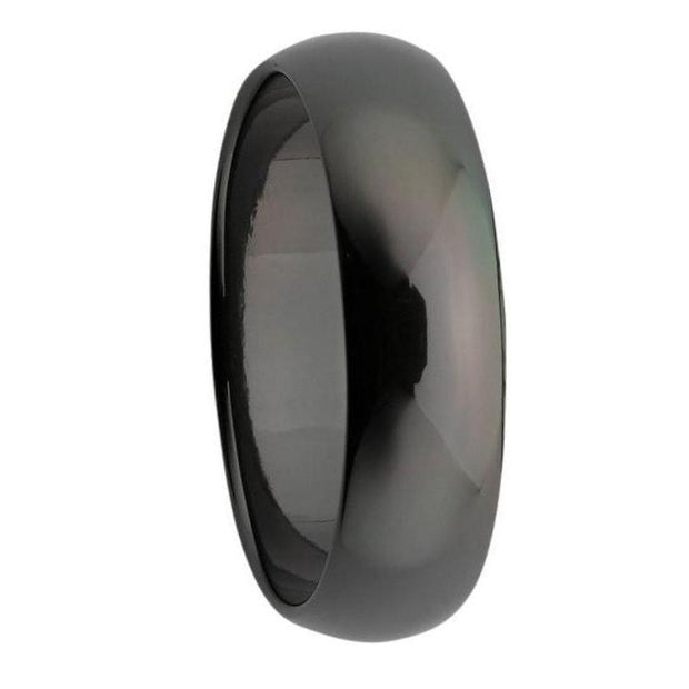 Custom Domed Black Zirconium Polished Mens Ring