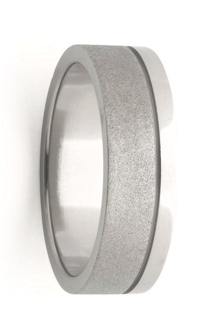 Brushed and Polished Titanium Men's Wedding Band