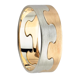 Puzzle Linked Men's Gold Wedding Ring