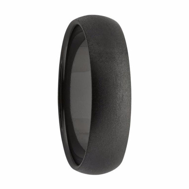 Domed Black Brushed Zirconium Mens Ring