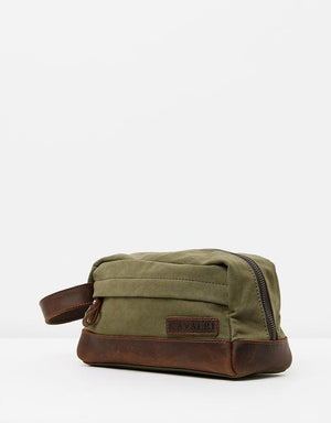 The Huntsman Wash & Travel Bag - Army Green & Leather