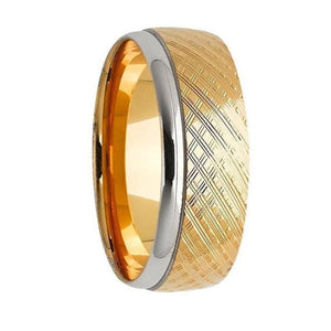 Yellow Gold Patterned Men's Wedding Ring With White Gold Edging