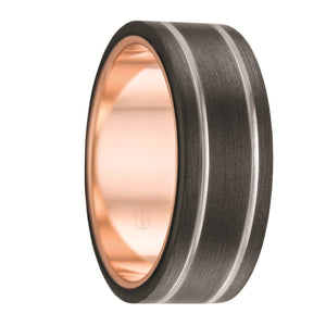 Custom Dual Groove Black Zirconium and Rose Gold Inlay Wedding Ring
