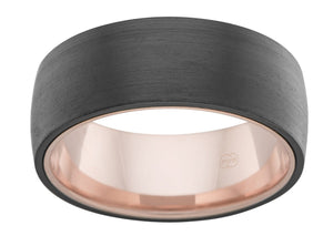 Custom Rounded Black Zirconium and Rose Gold Inlay Wedding Ring