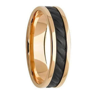 Custom Gold and Black Zirconium Inlay Mens Wedding Ring