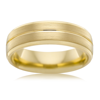 Yellow Gold Grooved Mens Wedding Ring B3926