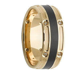Polished Yellow Gold Diamond Ring with Black Zirconium Striped Centre (AR805ZGC7.5)