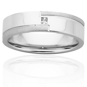 White Gold Mens Wedding Ring With Sandblasted Edges and Diamond