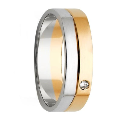 White and Yellow Gold with Diamond Men's Wedding Ring