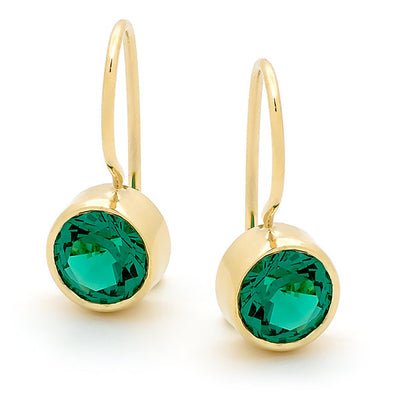 9ct Synthetic Emerald Bezel Set Shepherd Hook Earrings