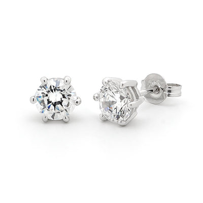 6 Claw Diamond Earrings