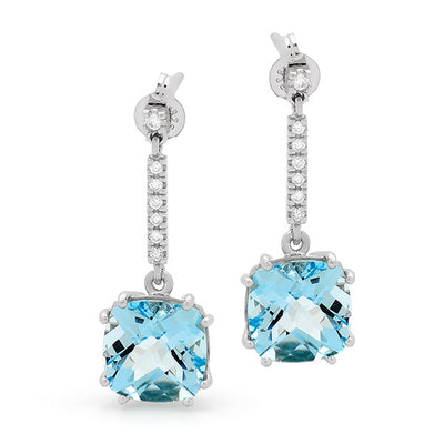 9ct Blue Topaz & Diamond Claw Set Drop Earrings