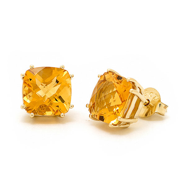 9ct Citrine Claw Set Stud Earrings