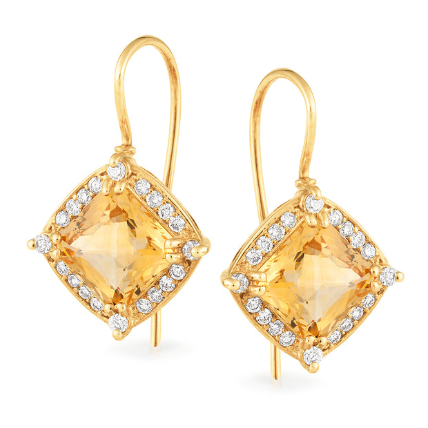 Citrine & Diamond Claw Set Shepherd Hook Earrings