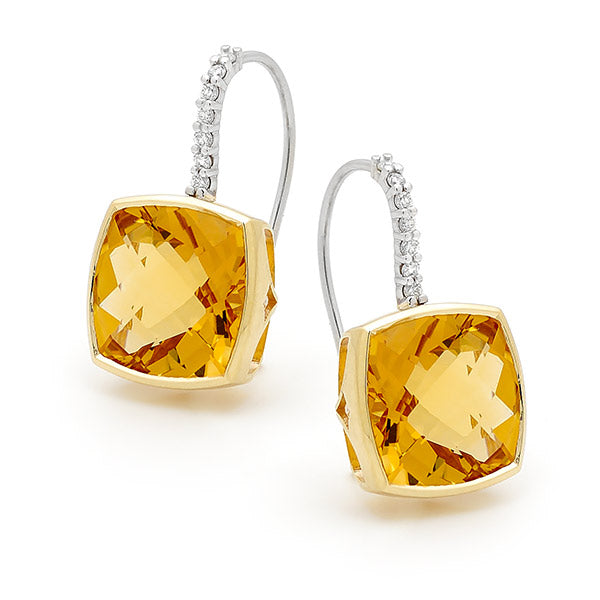 Citrine & Diamond Bezel/Claw Set Shepherd Hook Earrings