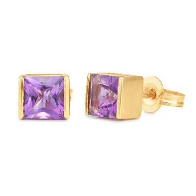 9ct Amethyst End Set Stud Earrings