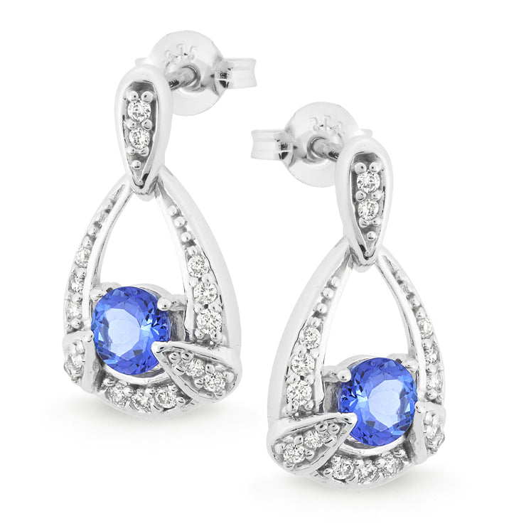 9ct Tanzanite & Diamond Claw/Bead Set Stud Earring