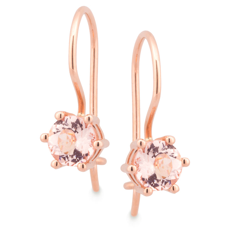 9ct Morganite Claw Set Shepherd Hook Earrings