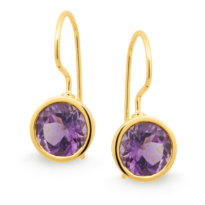 9ct Amethyst Bezel Set Shepherd Hook Earrings
