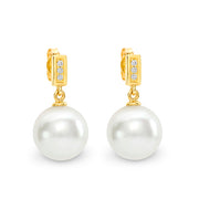 9ct South Sea Pearl & Diamond Drop Pearl Earrings