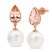 9ct Gold Morganite and South Sea Pearl Earrings
