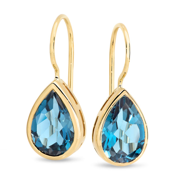 9ct London Blue Topaz Bezel Set Shepherd Hook Earrings