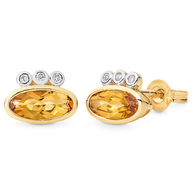 9ct Citrine & Diamond Bezel Set Coloured Stone Earrings