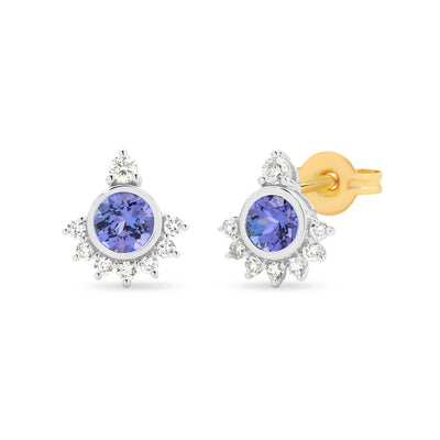 9ct Tanzanite & Diamond Bezel/Claw Set Coloured Stone Earrings