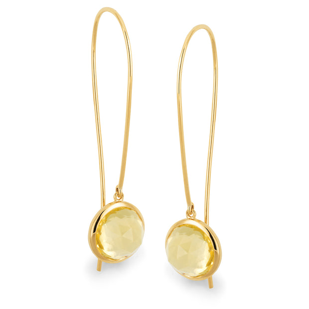 9ct Lemon Quartz Bezel Set Shepherd Hook Earrings