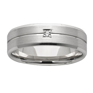 Centre Grooved White Gold Mens Wedding Ring with Diamond