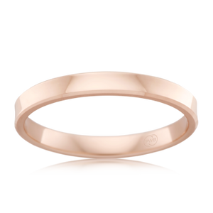 Women's Rose Gold Wedding Ring- Flat Comfort Fit