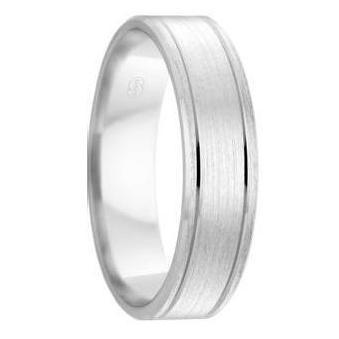 White Gold Mens Wedding Ring With Dual Grooves