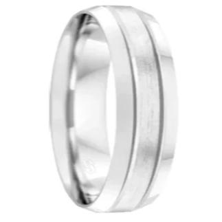 Rounded Polished and Brushed Dual Grooved Platinum 950 Wedding Ring