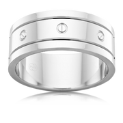 Polished and Screw Pattern Platinum 950  Wedding Ring
