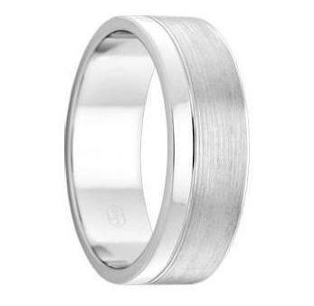 White Gold Mens Wedding Ring Brushed and Polished Dual Finish (F3474)