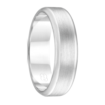 White Gold Men's Wedding Ring with Brushed Finish (F3511)