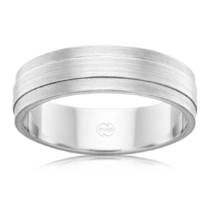 Brushed and Bevelled Platinum 950 Wedding Ring (F3621)