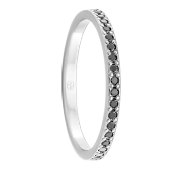 White Gold and Black Diamond Women's Ring  (F4243)