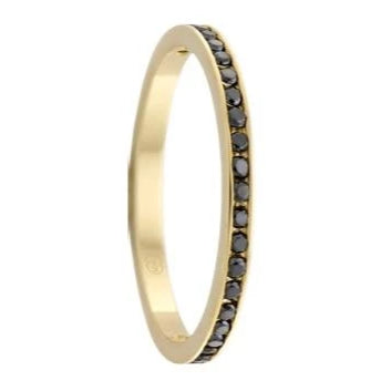 Yellow Gold and Black Diamond Women's Ring  (HD4234)