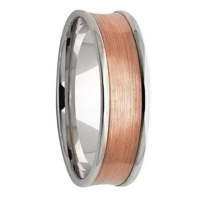 White and Rose Gold Concave Inlay Mens Wedding Ring